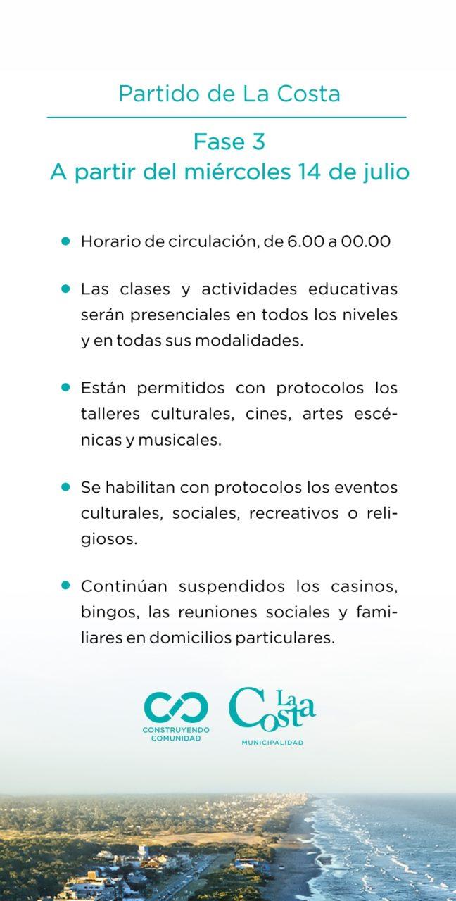 V - Partido de La Costa - A partir del 14 de julio - Pase a Fase 3 (1)